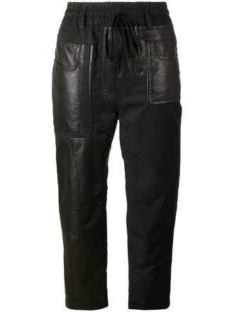 cropped women leather cotton black pants