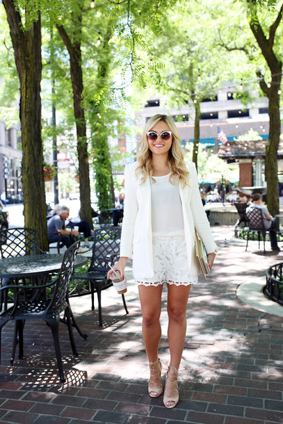 bows&sequins blogger jacket shorts tank top sunglasses shoes bag