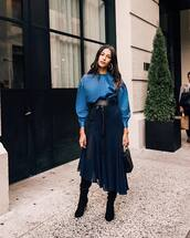 blouse,tumblr,All blue outfit,blue top,skirt,midi skirt,asymmetrical,asymmetrical skirt,boots,black boots,belt,bag