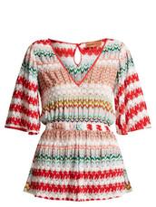 white,knit,crochet,red,romper