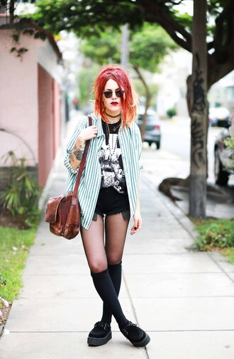 le happy blogger stripes rock striped shirt graphic tee shoulder bag knee high socks creepers t-shirt sweater blouse shorts bag