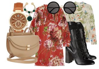 the fashion guitar blogger blouse 70s style floral dress black boots nude bag round sunglasses tropical