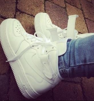 white sneakers nike high tops nike air nike air force 1 nike teens tumblr shoes hipster bikini shoes