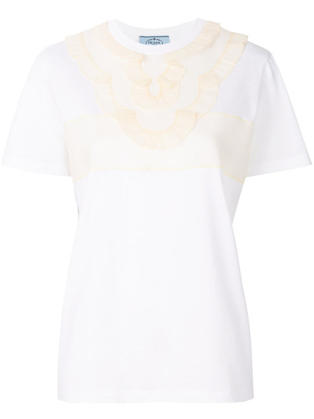 Prada t-shirt shirt t-shirt women embellished white cotton top