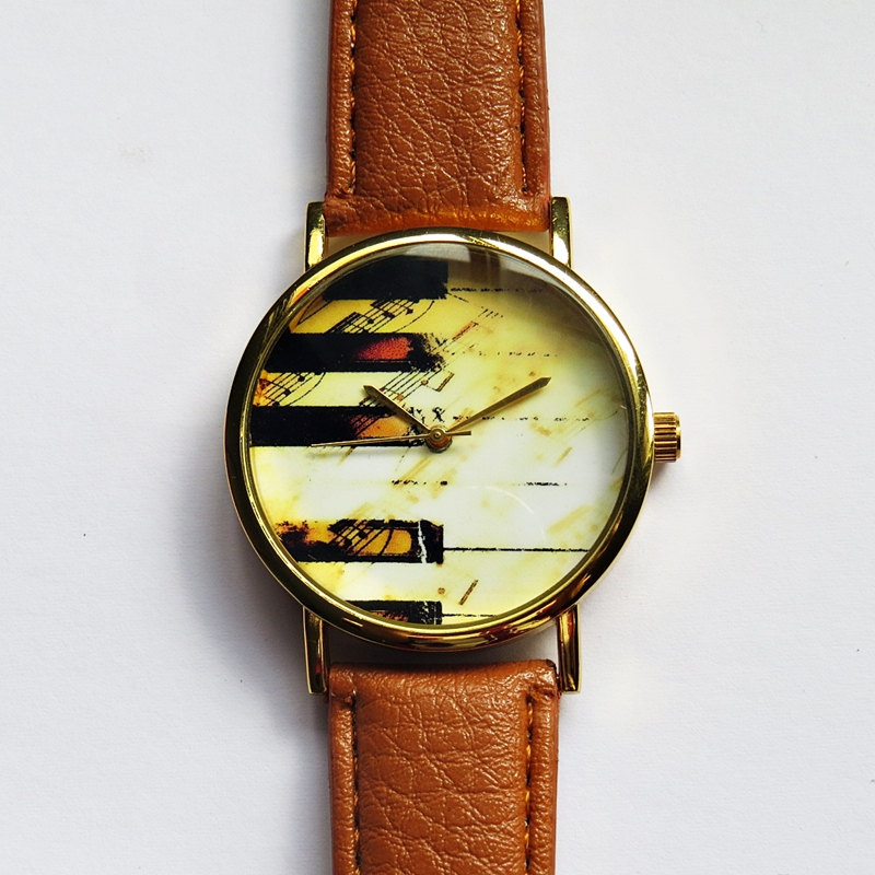 Piano Keys on Music Sheet Watch , Vintage Style Leather Watch, Women Watches,Mens Watch, Boyfriend Watch, Unisex