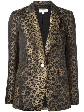 blazer women spandex print brown leopard print jacket