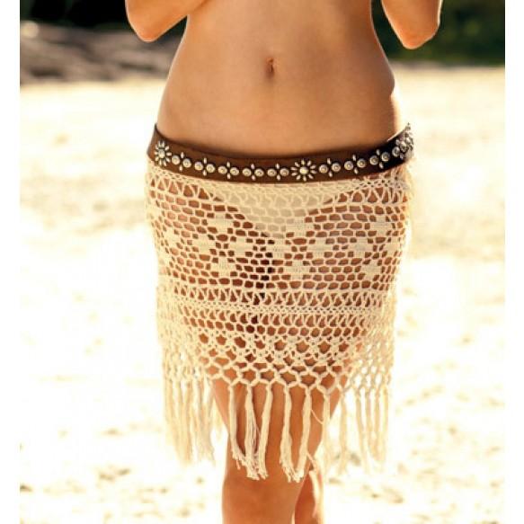 Fringe Crochet Beach Skirt With Belt