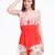 Red Spaghetti Strap Lace Chiffon Jumpsuit - Sheinside.com