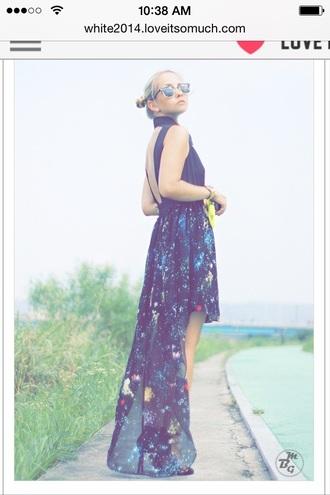 dress high low dress galaxy dress flowy dress backless dress