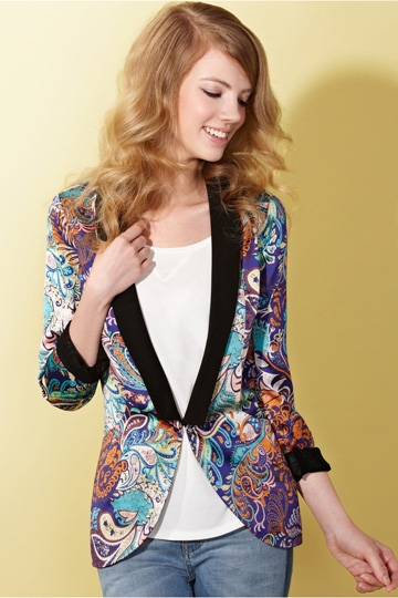 Satin Collar Floral Print Blazer [FFBI0171]- US$ 60.99 - PersunMall.com