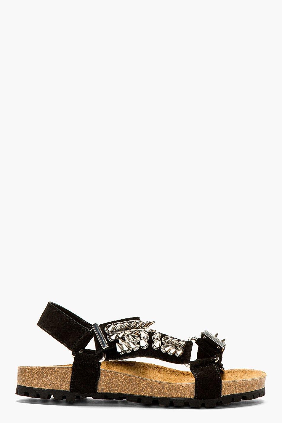 Dsquared2 black suede spike stud sandals