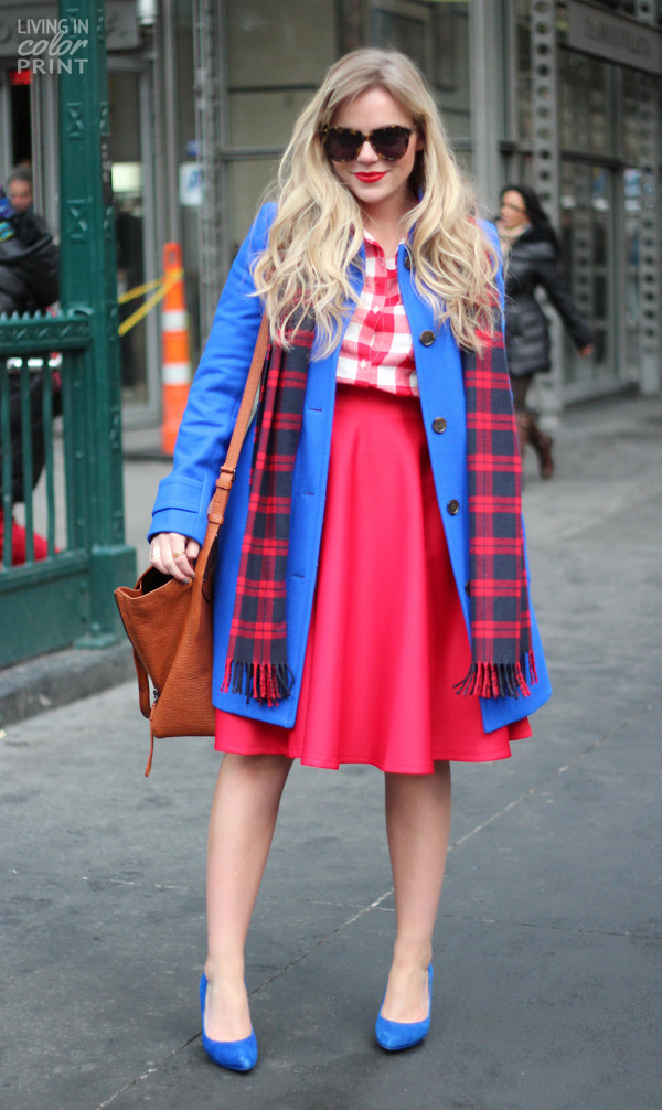 living in color print skirt shoes coat scarf bag