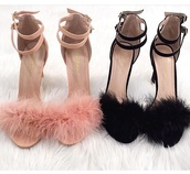 shoes,furry sandals,pretty things,furry heels,blush pink,black,heels,open toes,sandals,summer,cute,pretty,pink,fluffy