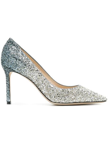 Jimmy Choo women pumps leather grey metallic shoes
