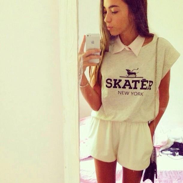 romper jumpsuit skater t-shirt shorts
