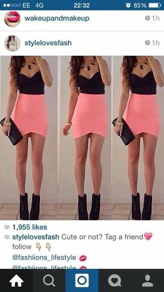 skirt high waisted skirt pink skirt bodycon skirt bright colored neon skirt assymetrical skirts elastic high skirt dress