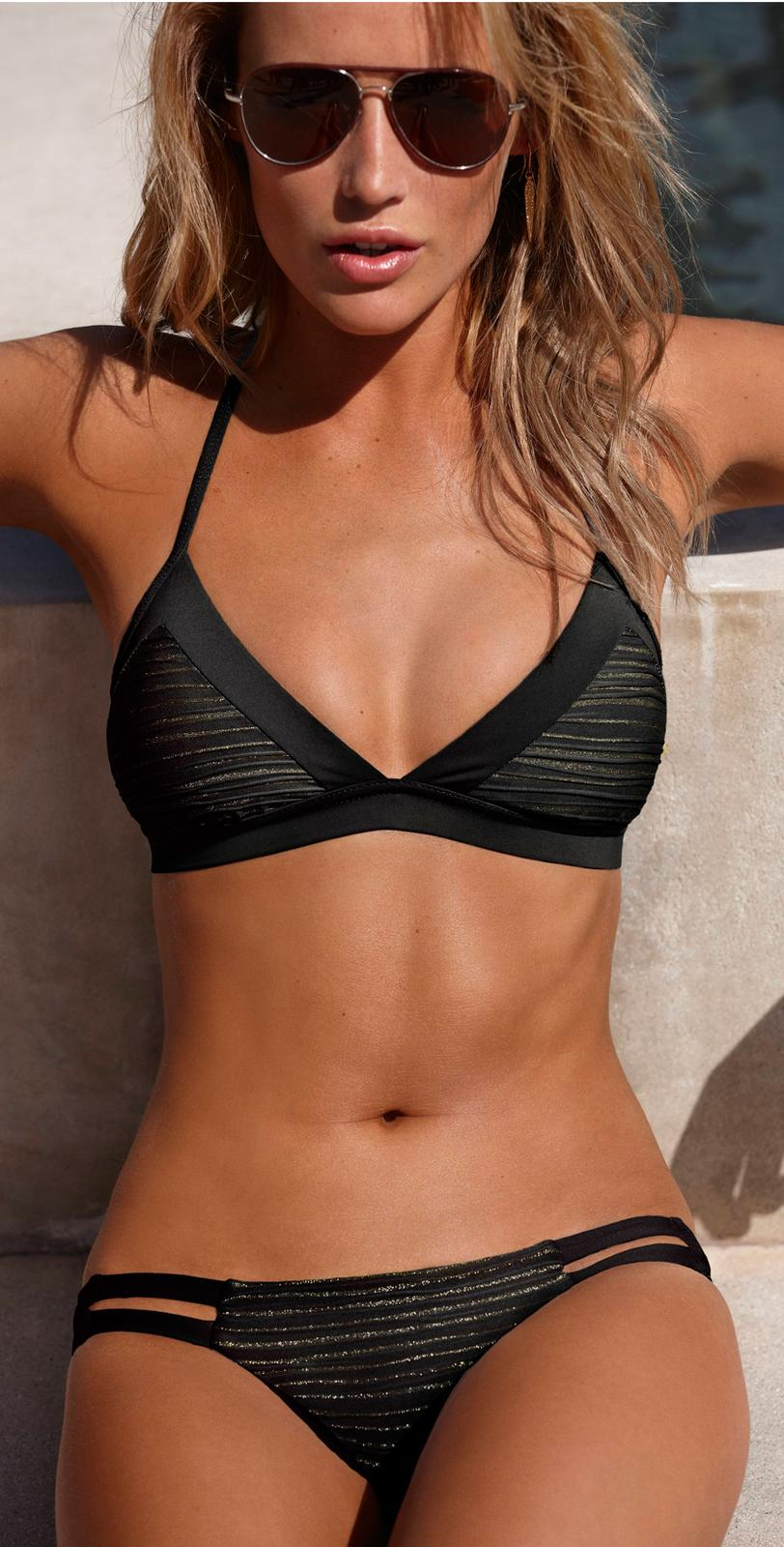 Vitamin A Swimwear Isis Black Bikini  | South Beach Swimsuits