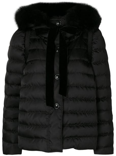 Miu Miu jacket puffer jacket fur fox women black