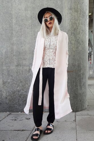 style lime light blogger coat pink sunglasses crochet pink coat pastel pink black pants black hat slide shoes duster coat