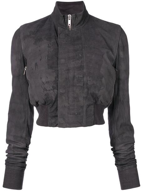 Rick Owens jacket bomber jacket cropped women cotton silk wool grey