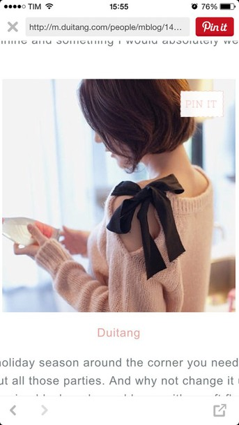 sweater pink black bow bows
