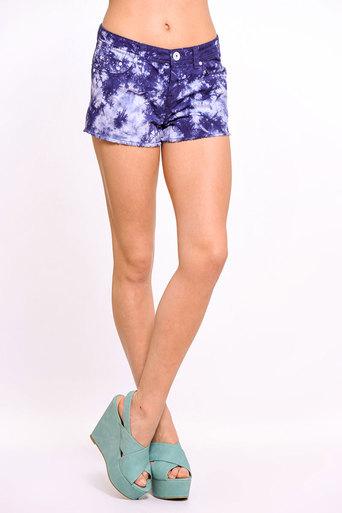 Womens Daya Tie-Dye Cut-Off Shorts In Blue   Pop Couture