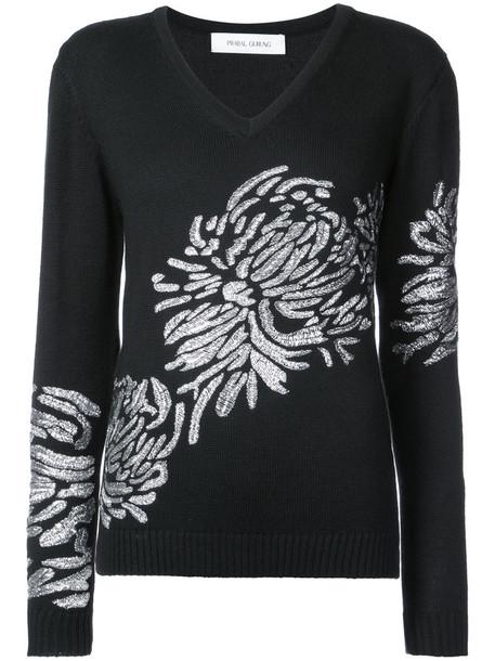 Prabal Gurung sweater embroidered women black silk
