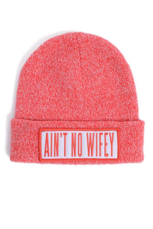 hat ain't no wifey red beanie skullie sway dimepiece