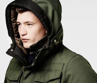 coat urban army green urban menswear mens coat menswear mens parka