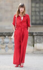 pants,red pants,wide-leg pants,All red outfit,red shirt,shirt,bag,white bag,sandals,red sandals,spring outfits