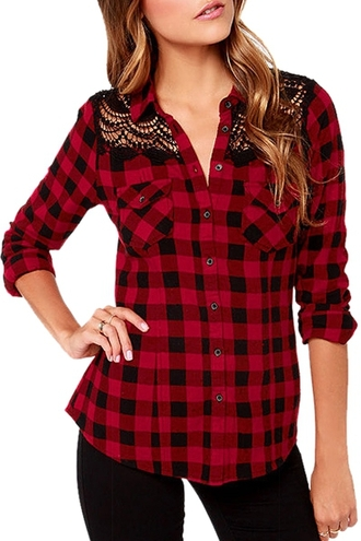 top fashion plaid cool style long sleeves red plaid print long sleeve shirt red black lace stylish clothes