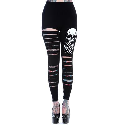 Banned gescheurde legging met schedel print zwart/wit