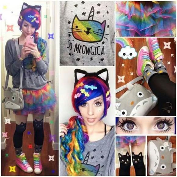 rainbow pastel goth meow kawaii sweater