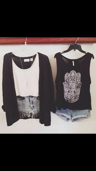 black white hipster blouse weheartit hipster punk vans, floral, indie, hippie, hipster, grunge, shoes, girly, tomboy, skater acid washed shorts tumblr girl tumblr clothes tumblr skater sweater shirt t-shirt fashion cute summer hamsa hamsahand warped tour warped tour fashion summertime