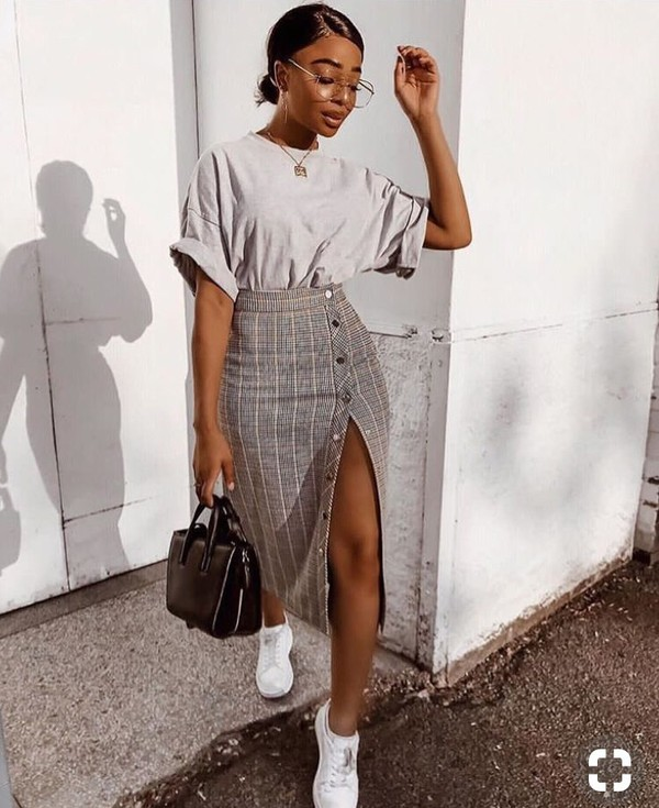 browse latest collections official store aliexpress ZARA BROWN BEIGE CHECKED PENCIL MIDI SKIRT WITH SIDE SNAP ...