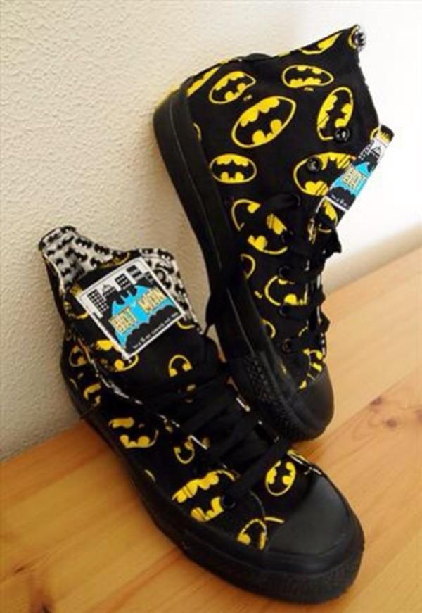 shoes batman converse trainers yellow