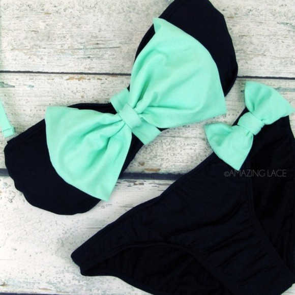 swimwear bow blue swimwear cute swim suit green swimwear black