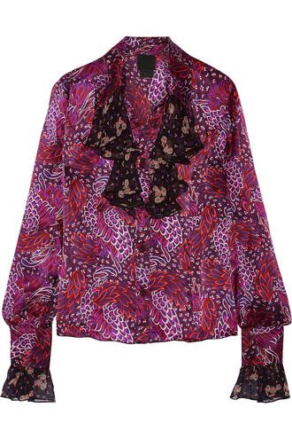 blouse chiffon silk satin plum top