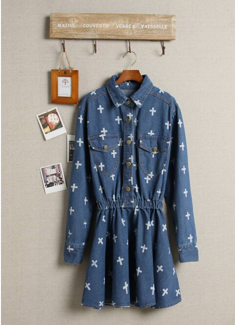 2014 spring autumn women casual jeans dress retro street cross eiffel tower printed long sleeved high waist denim dress vestidos