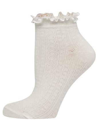 Cream lace top socks