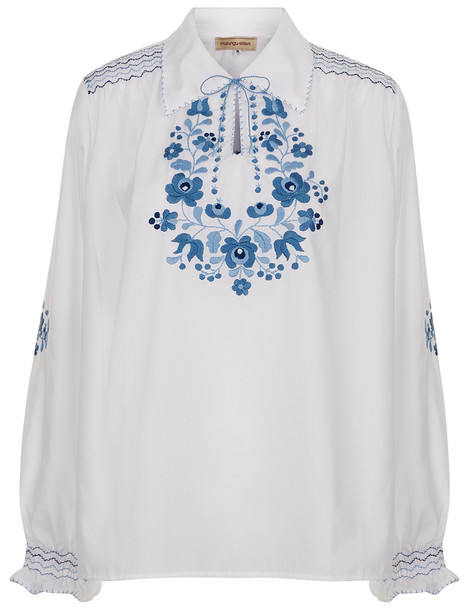 blouse embroidered white blue