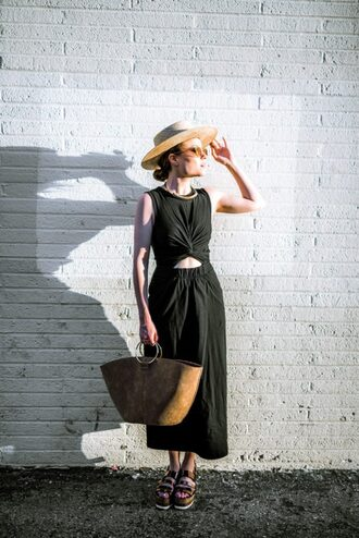 dress hat tumblr midi dress black midi dress black dress sandals flatforms bag handbag sleeveless sleeveless dress sun hat sunglasses