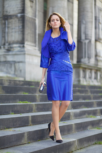 from brussels with love blogger blue dress blue jacket black heels clutch lace top office outfits