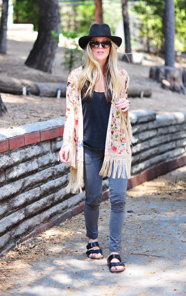 kimono floral boho jewels blogger love maegan hat