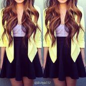 coat,wow,yellow,yellow jacket,charlotte russe,black skirt,skirt,blouse,blazer,purple,crop tops,black