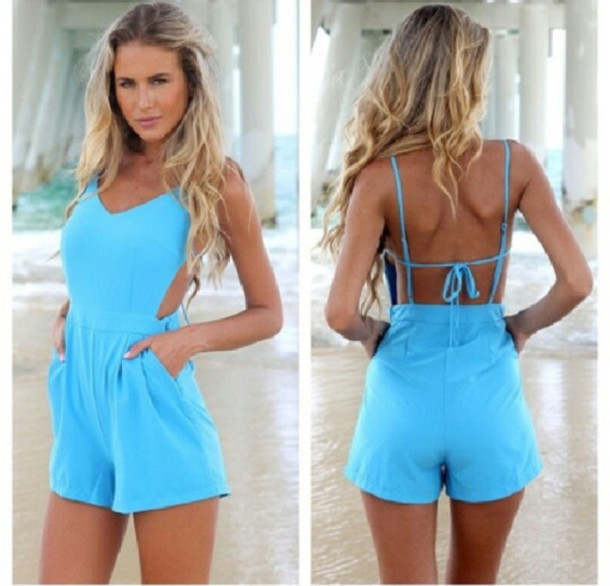Sexy cute back jumpsuit shorts