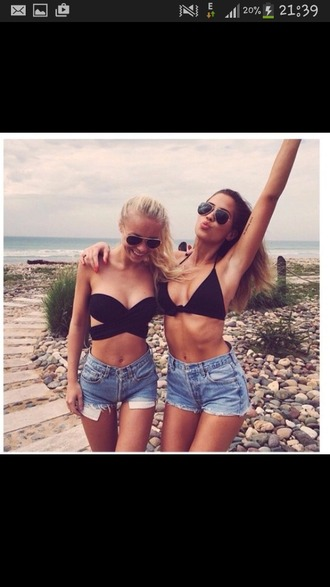 jeans shorts tank top swimwear top black kenza blue summer hipster swimwear bustier crop tops black crop top fashion style denim shorts denim