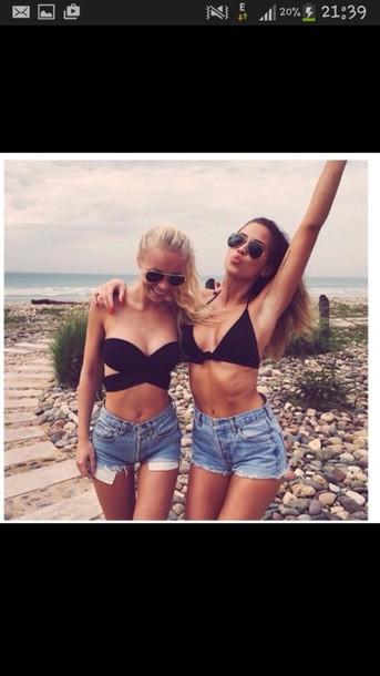 jeans shorts tank top swimwear top black kenza blue summer hipster swimwear bustier crop tops black crop top fashion style denim shorts denim