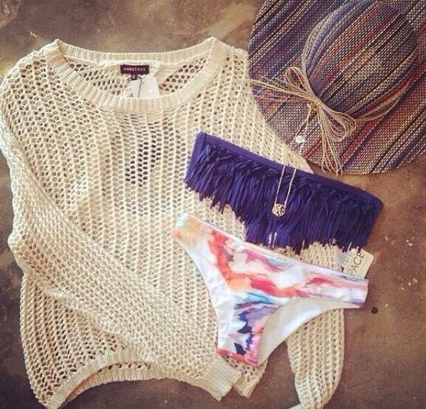 swimwear bikini fringe bikini purple swimwear sweater