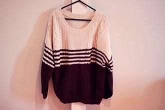 sweater bourgunder white pull pullover girl